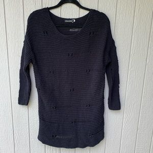 VOLCOM distressed long 3/4 sleeve sweater